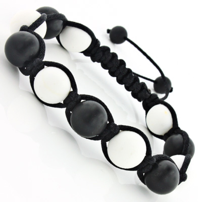 Matte Black and White Bead Bracelet Main Image