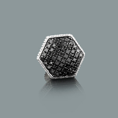 Mens 1 Silver Black Diamond Earring 0.33ct Single Stud mens-1-silver-black-diamond-earring-033ct-single-stud_1