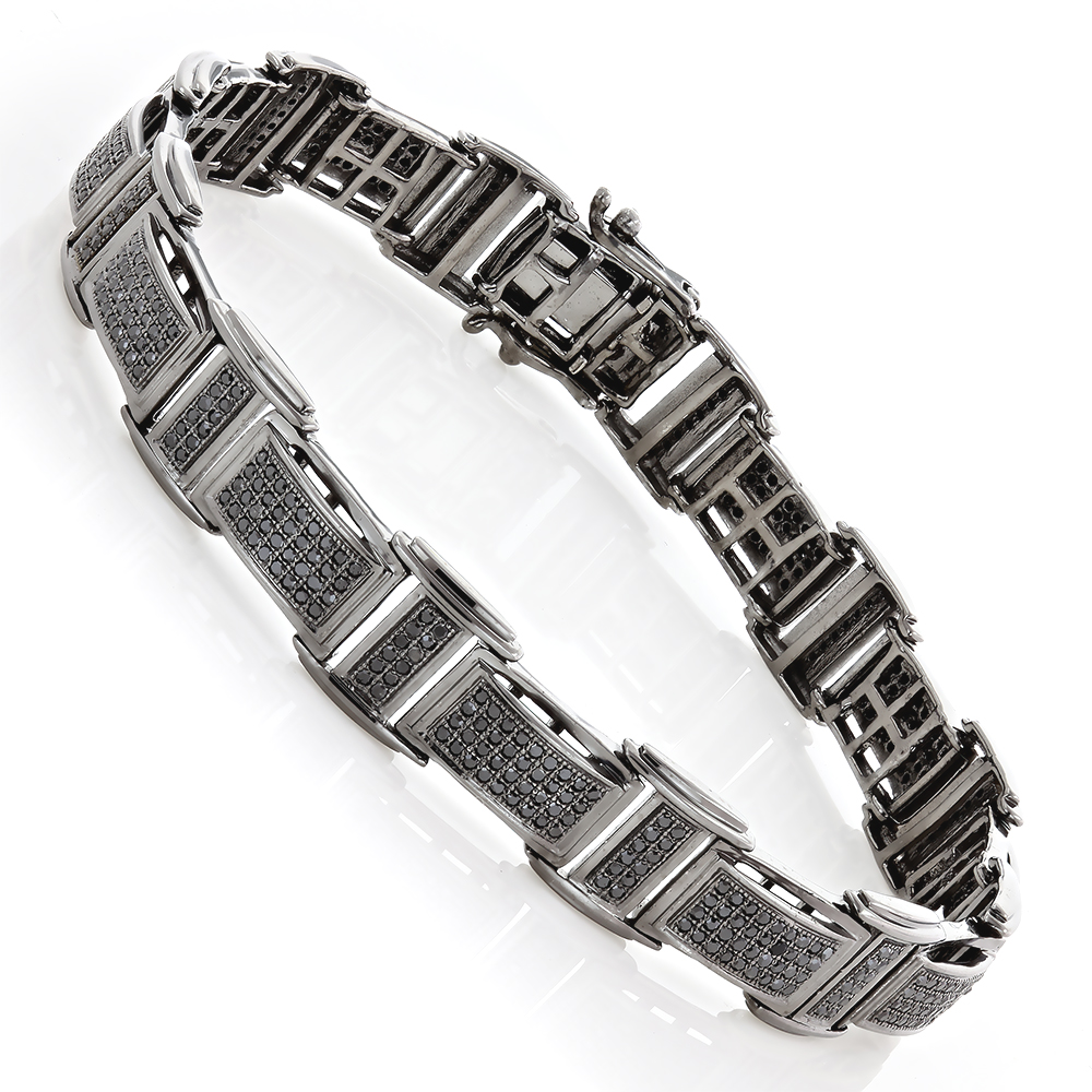 Mens 14K Black on Black Diamond Bracelet 1.75ct Main Image