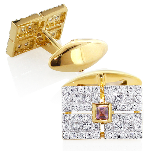 Men's 14K Gold Diamond Amethyst Cufflinks 2.5ct mens-14k-gold-diamond-amethyst-cufflinks-25ct_1