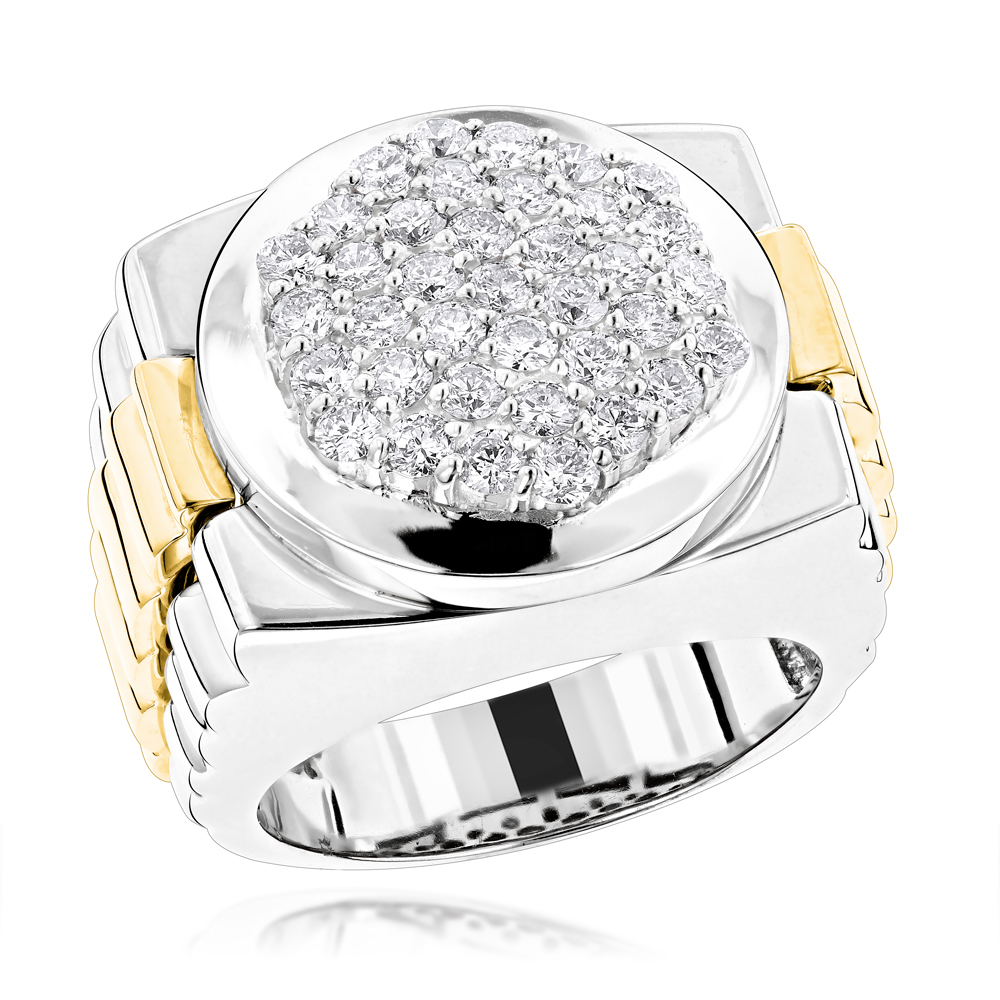 Mens 14K Two Tone Gold Diamond Ring with Pave Round Diamonds 2.04ct White Image