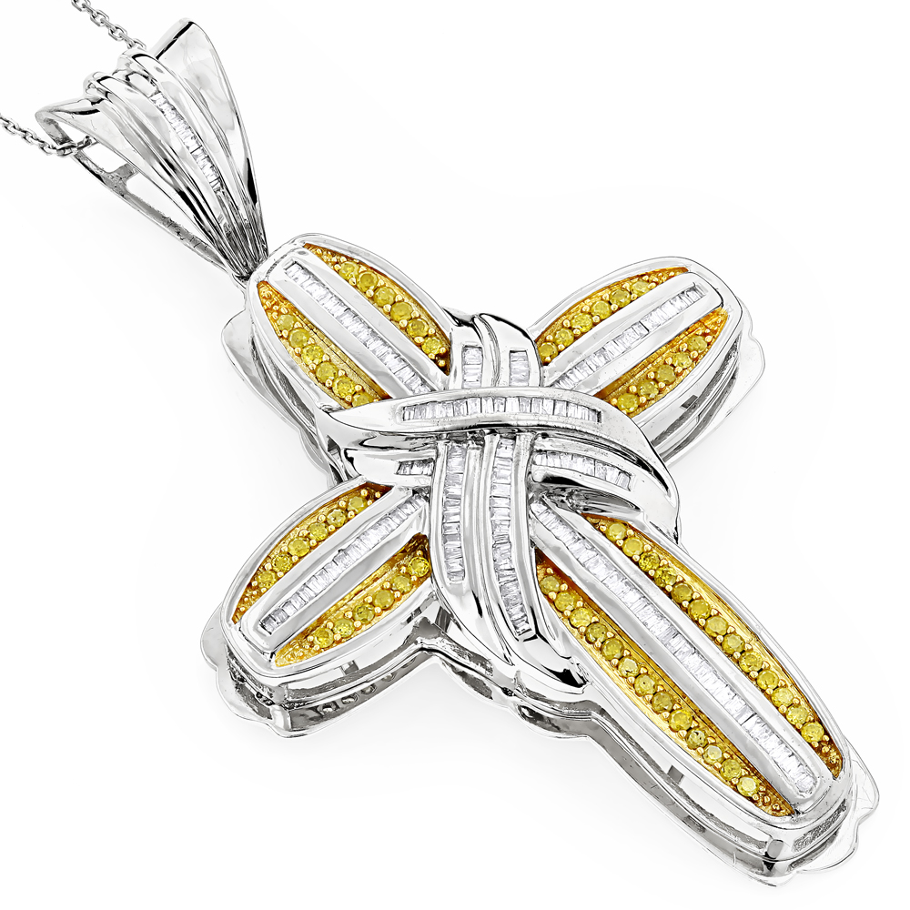 Mens 14k yellow diamond cross pendant necklace 252ct aloadofball Image collections