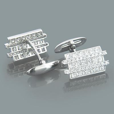 Mens 18K Gold and Diamond Modern Cufflinks 4.33ct Main Image