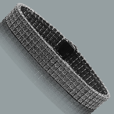 Mens 4 Row Black Diamond Bracelet 0.90ct Sterling Silver Main Image