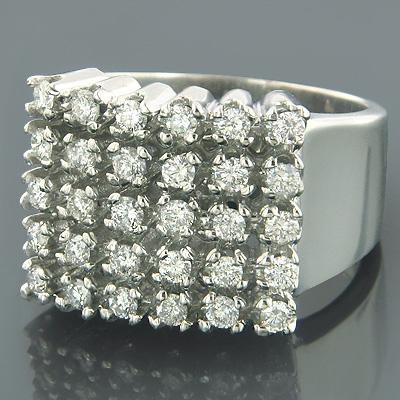 Mens 5 Row Diamond Ring w Round Diamonds 1.32ct Main Image