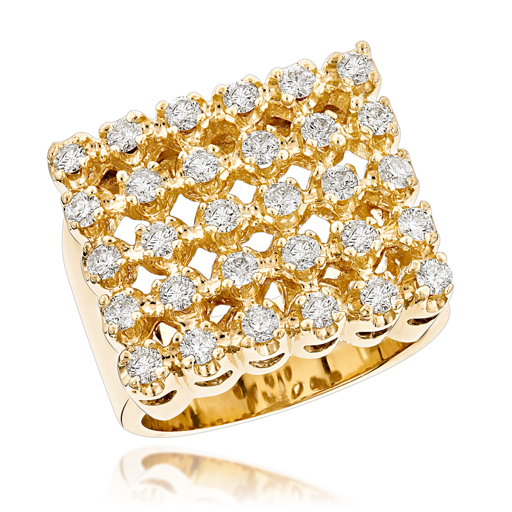 Mens 5 Row Diamond Ring w Round Diamonds 1.65ct Yellow Image
