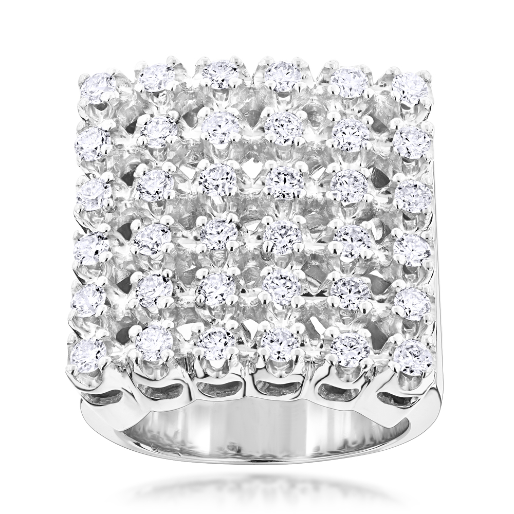 Mens 6 Row Diamond Ring w Round Diamonds 1.98ct White Image