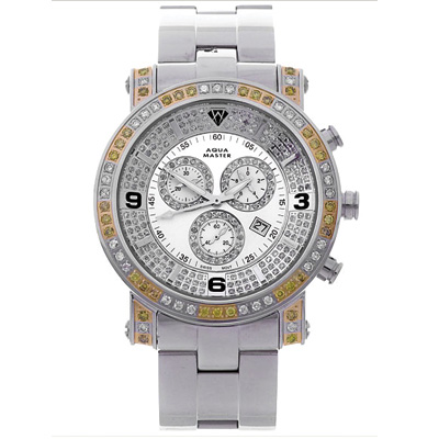 Mens Aqua Master Watch White Yellow Diamonds 3.60ct Mens Aqua Master Watch White Yellow Diamonds 3.60ct