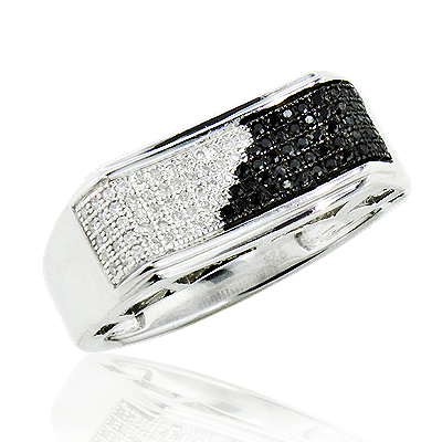 Mens Black and White Diamond Pinky Ring 0.30ct Sterling Silver