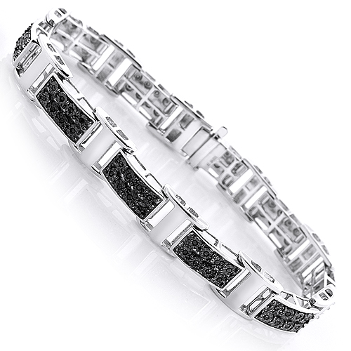 Mens Black Diamond Bracelet 0 30ct Sterling Silver