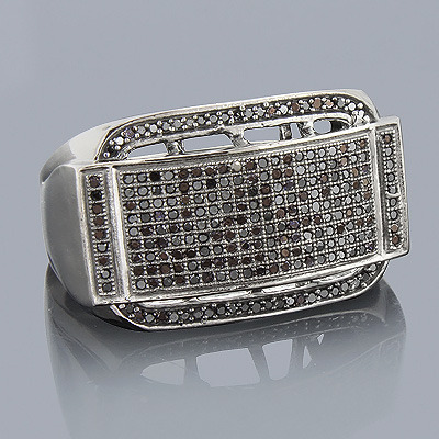 Mens Black Diamond Ring 0.71ct 10K