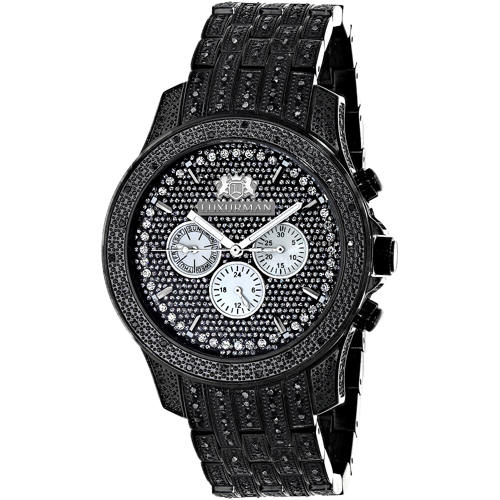 Fully Iced Out Large Mens Black Diamond Watch 1.5ct LUXURMAN Main Image