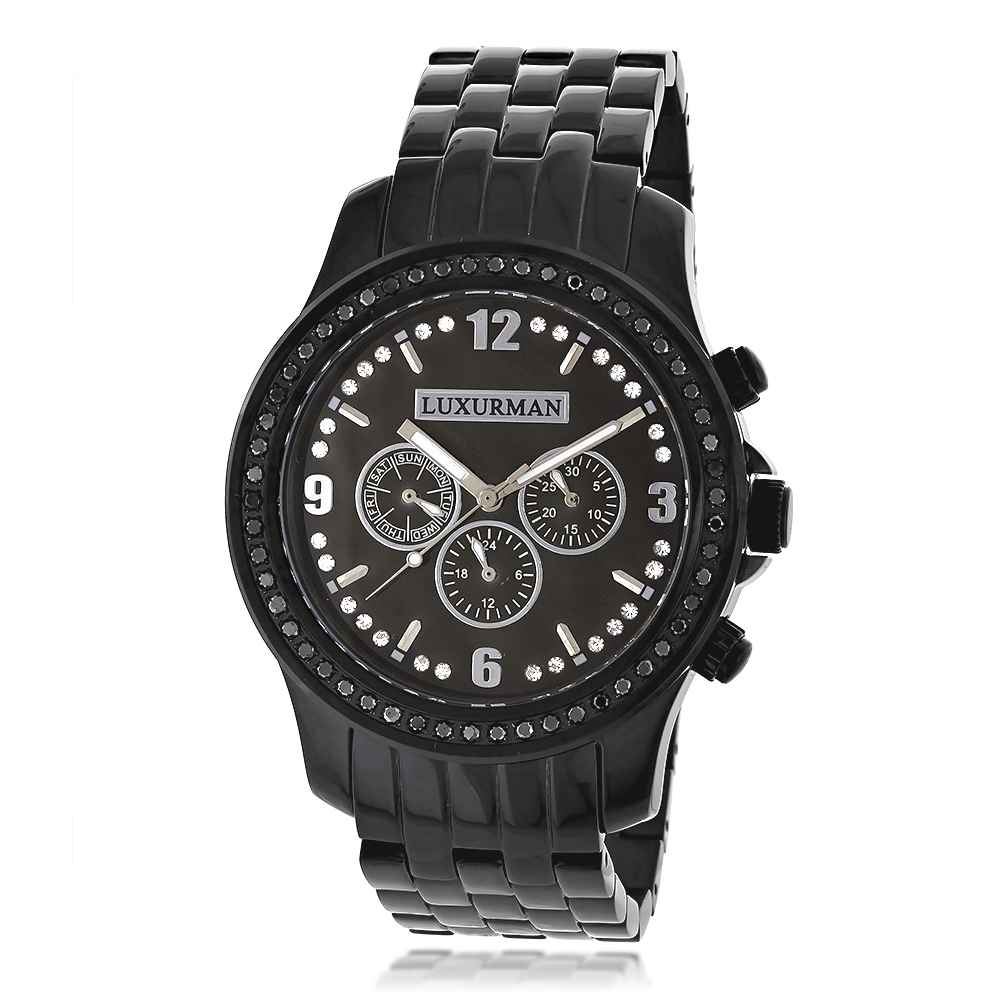 Mens Black Diamond Watch by LUXURMAN 2.25ct Main Image