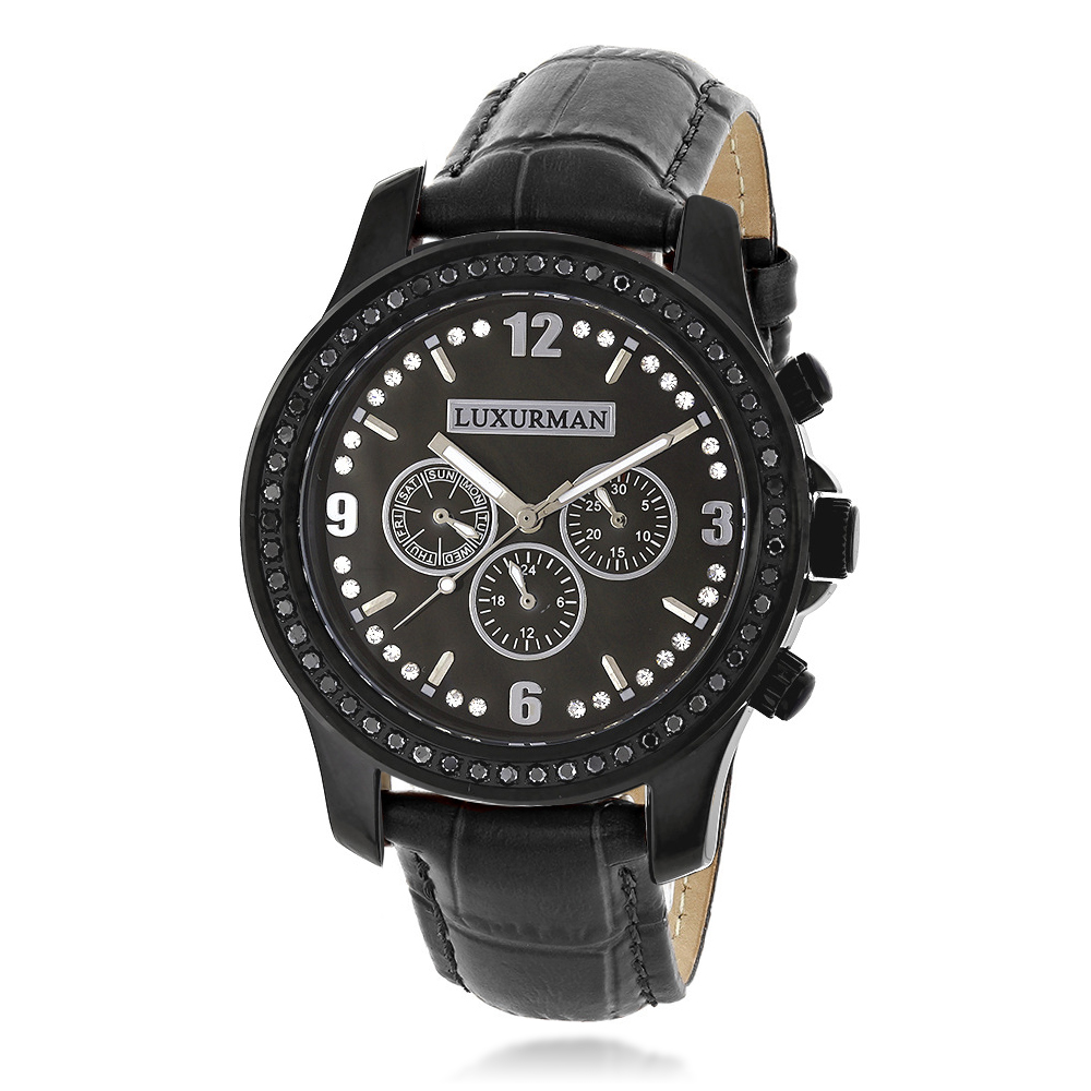 Mens Black Diamond Watch by LUXURMAN Raptor 2.25ct  MOP and Leather  Band Main Image