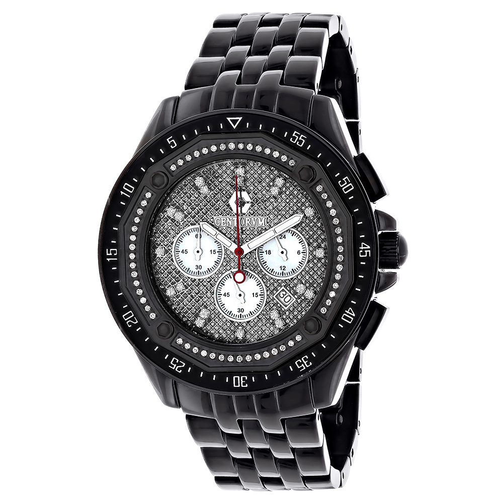 Men's Black Diamond Watch Chronograph 0.55ct Centorum