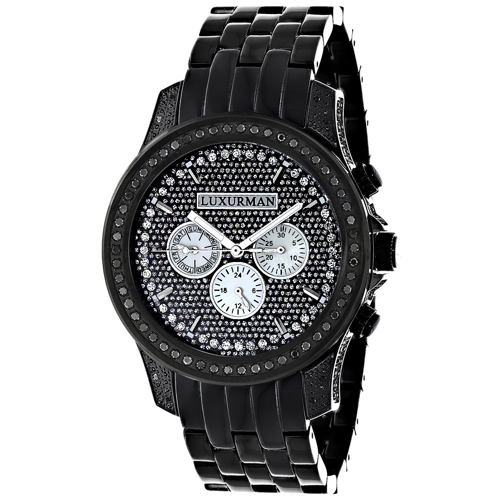 Mens Black Diamond Watch  LUXURMAN Designer Watches 2.5 carats
