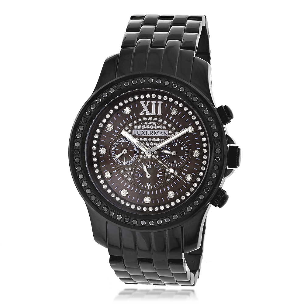 Mens Black Diamond Watches by Luxurman 2.25ct Main Image