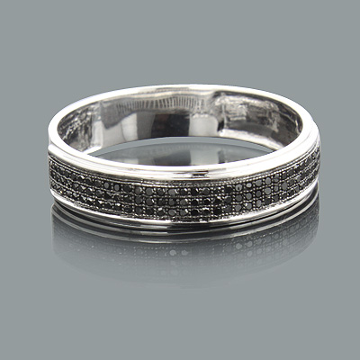Mens Black Diamond Wedding Band 0.28ct 14K Gold