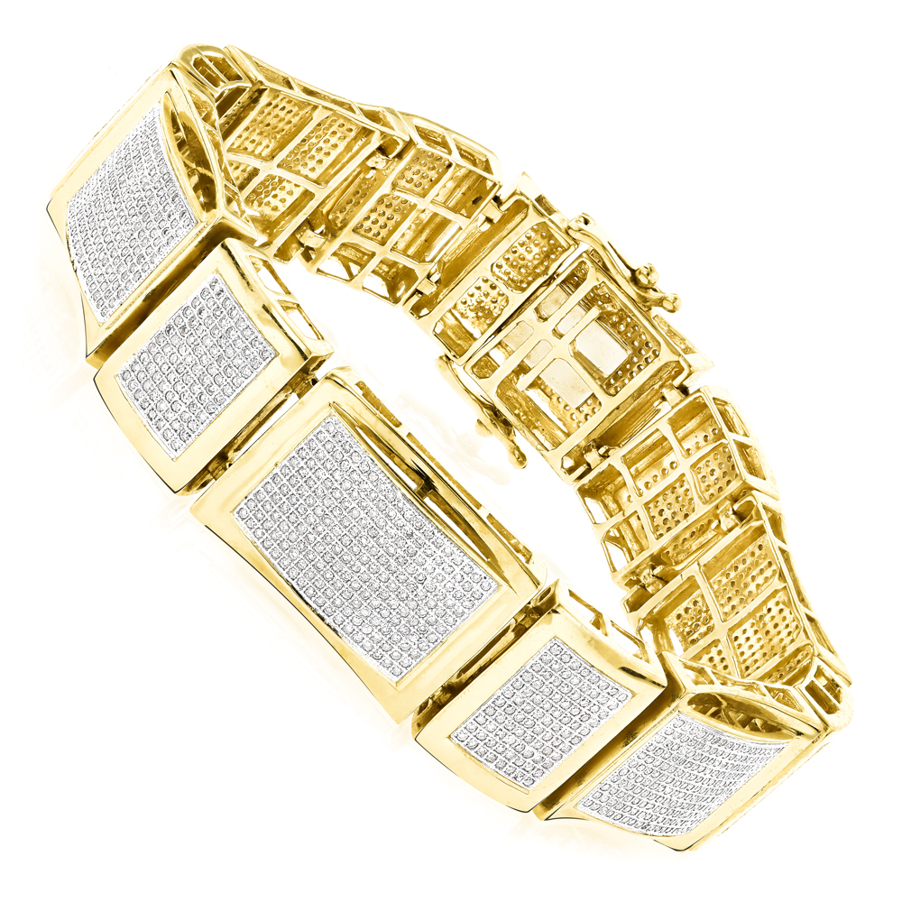 Mens Bracelets 10K Gold Mens Diamond Bracelet 5.5ct