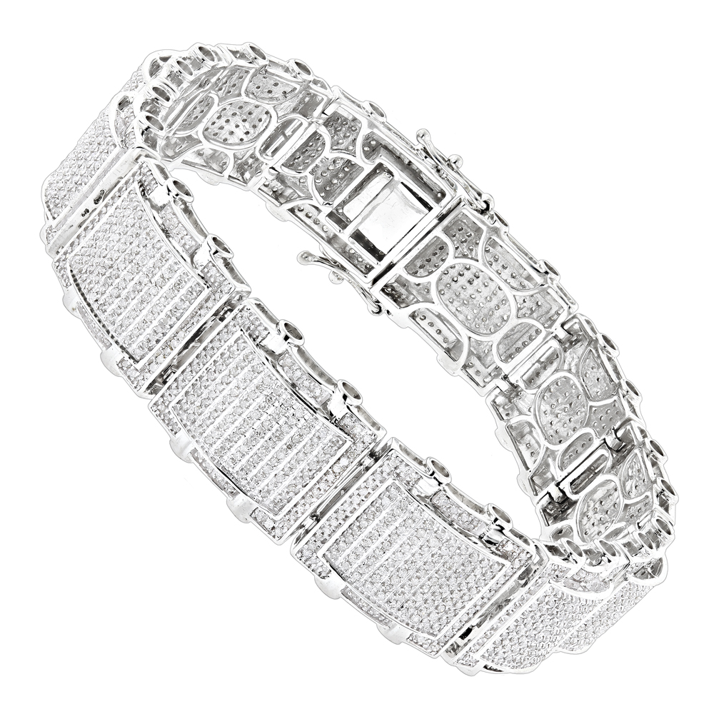Mens Bracelets: 10K Gold Pave Diamond Bracelet 5.25ct White Image