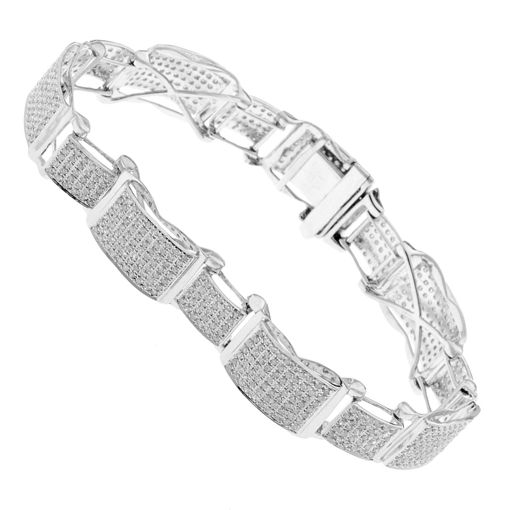 Mens Bracelets: 10K Gold Pave Diamond Bracelet 4.60ct