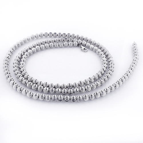 Mens Chains: White Gold Ball Moon Cut Chain 10K 4mm 22-30in Main Image