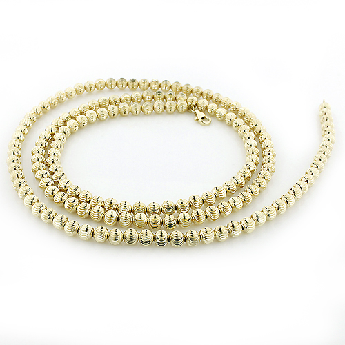 Mens Chains: Yellow Gold Ball Moon Cut Chain 10K 4mm 22-30in