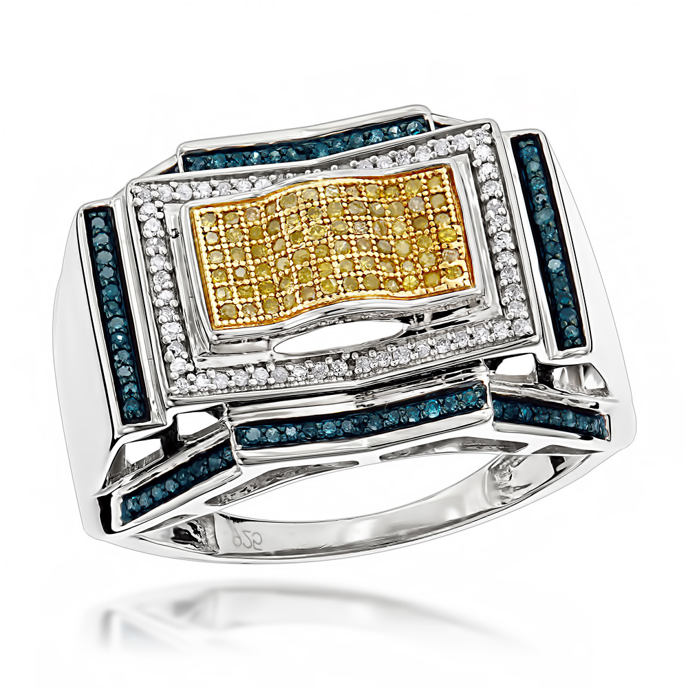 Mens Color Diamond Ring 0.5 ct Sterling Silver Main Image