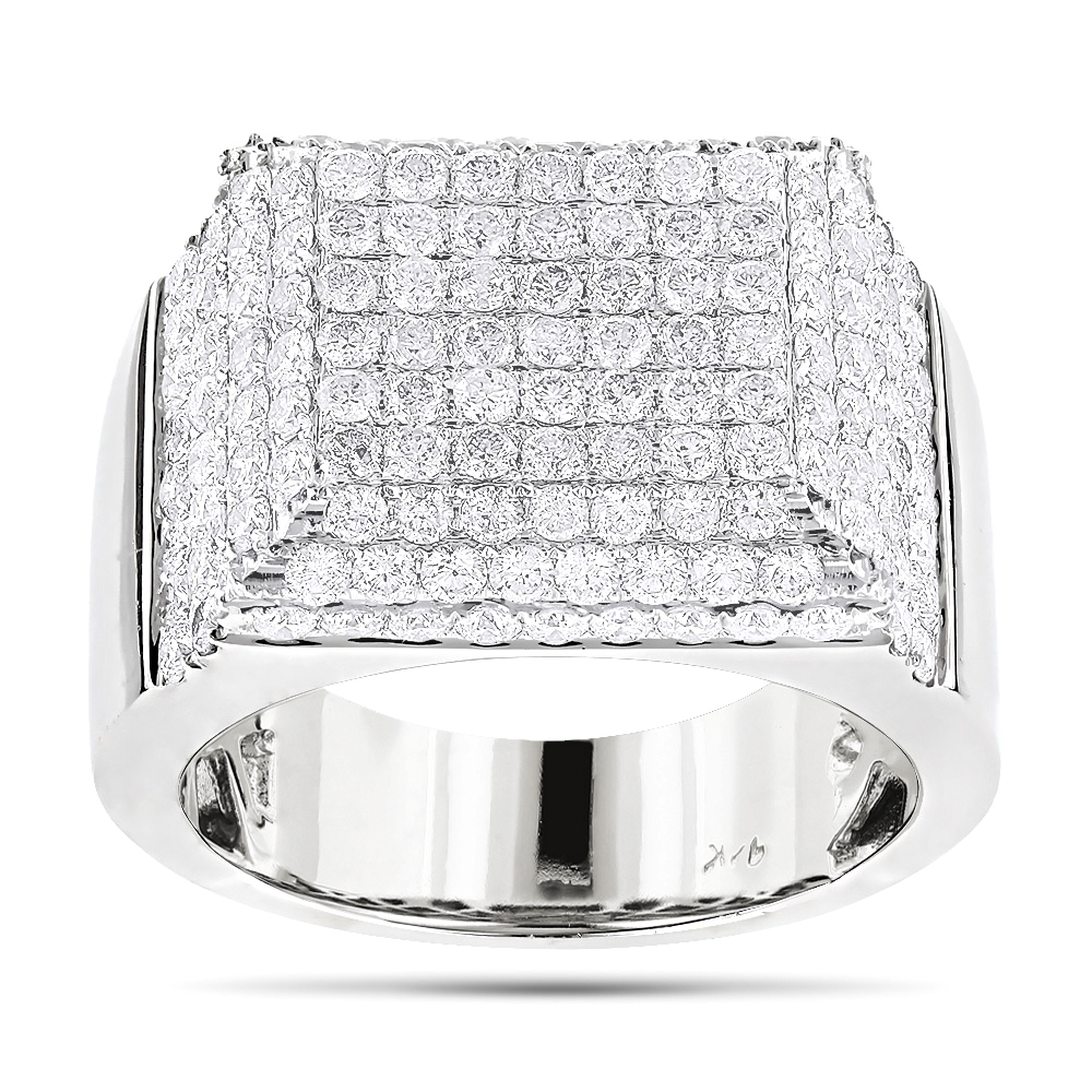 Mens Designer Diamond Ring 4.26ct 14K
