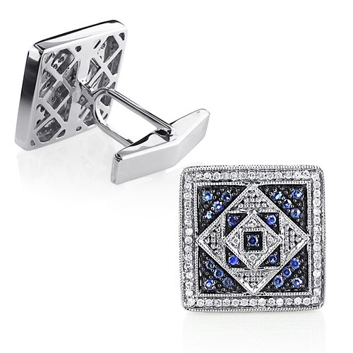 Mens Diamond and Sapphire Square Cufflinks 14K Gold
