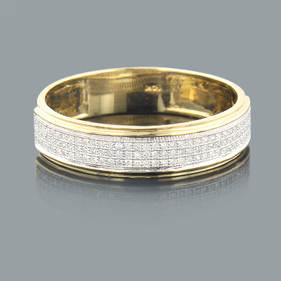 Mens Diamond Bands 14K Gold Diamond Ring 0.27ct Main Image