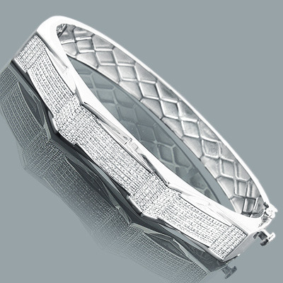 Mens Diamond Bangle Bracelet 1.1ct Sterling Silver