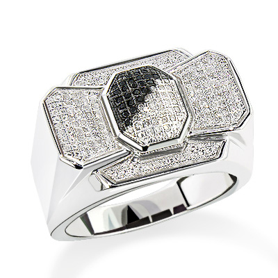 Mens Diamond Bow Tie Ring in Sterling Silver 0.30ct