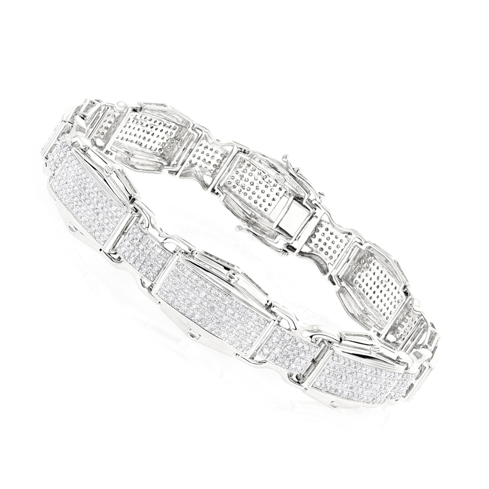 Mens Diamond Bracelet 3.27ct 10K Gold White Image