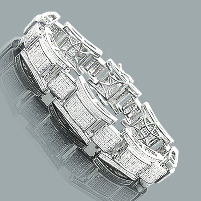 Mens Diamond Bracelet in Sterling Silver 2.47ct Main Image