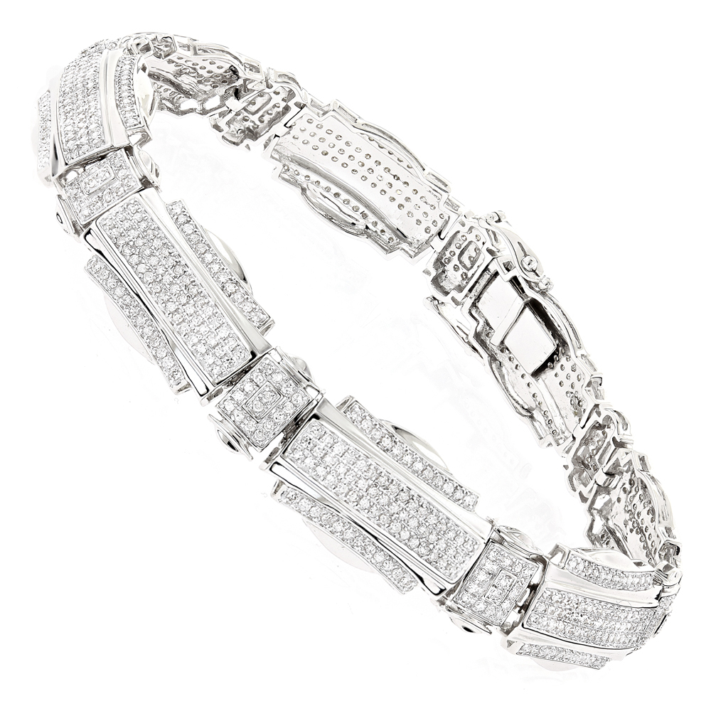 Mens Diamond Bracelets: 10K Gold 3.13ct White Image