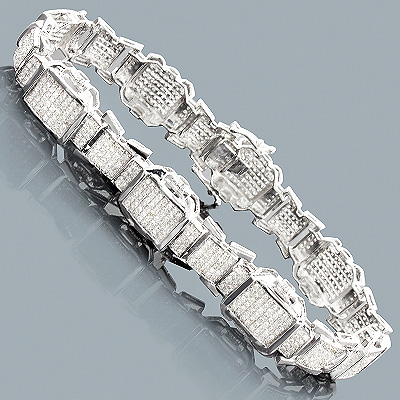 Mens Diamond Bracelets: 10K Gold 3.42ct