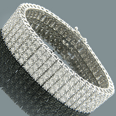 Mens Diamond Bracelets 14K 5 Row Diamond Bracelet 3.50 Main Image