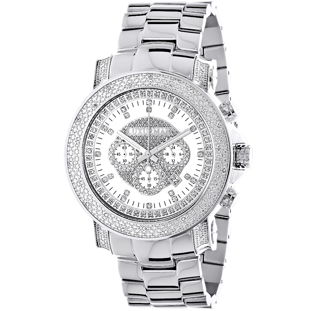 Mens Diamond Chronograph Watch by Luxurman 0.75ct Escalade Main Image