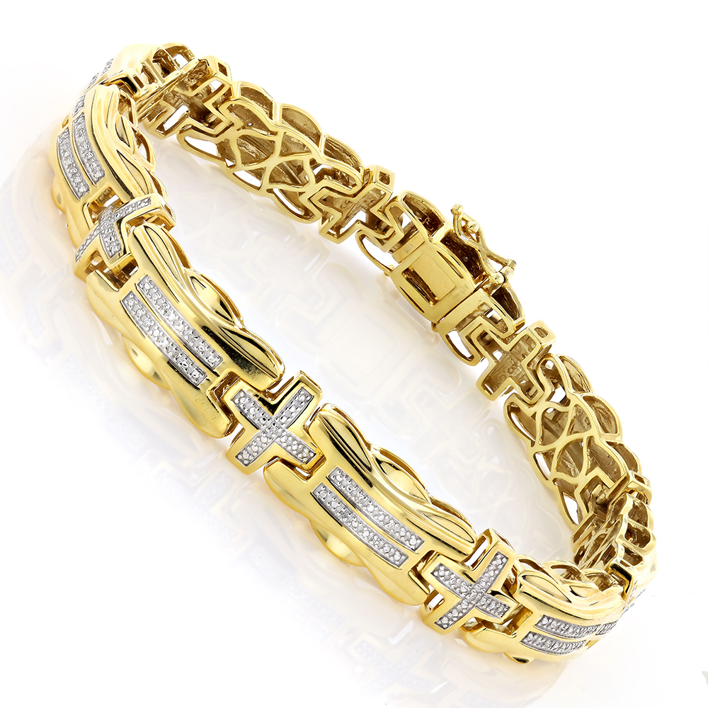 Mens Diamond Cross Bracelet 0.30ct Yellow Gold Plated Silver