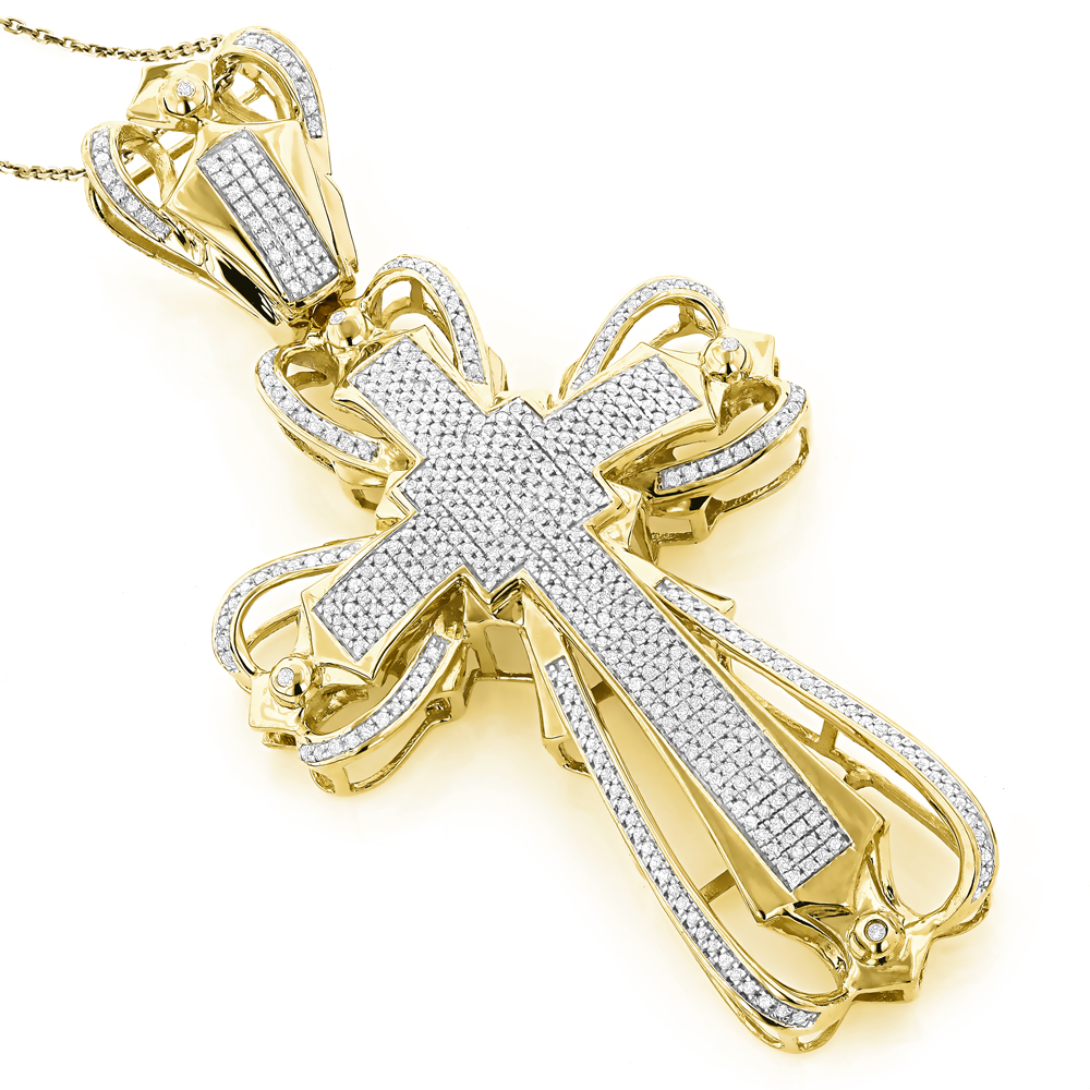 Mens Diamond Cross Pendant 2.16ct 10K Gold Yellow Image