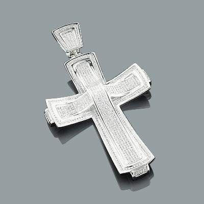 Sterling Silver Large Mens Diamond Cross Pendant Jewelry 1.81ct Main Image