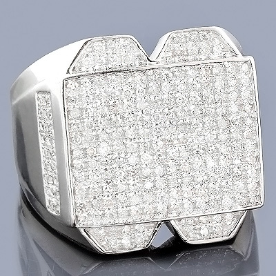 Mens Diamond Jewelry: 10K Gold Pave Diamond Ring 1.01ct