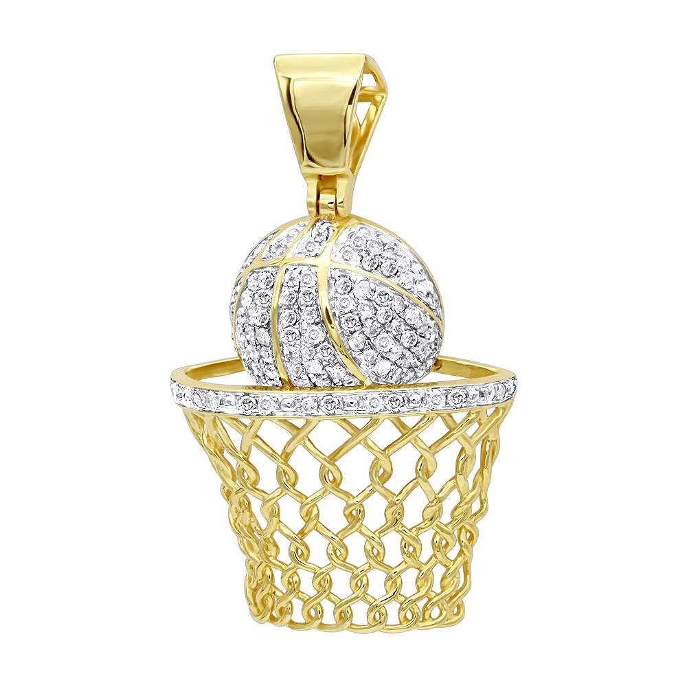 Mens Diamond Jewelry Solid 10k Gold Real Diamond Basketball Pendant 0.8ct Yellow Image