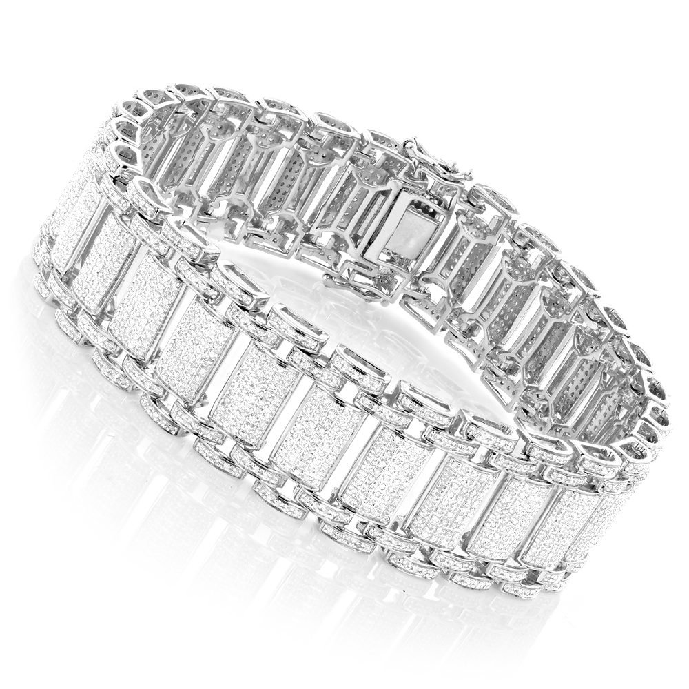 Mens Diamond Bracelet in Sterling Silver 5 carats Main Image