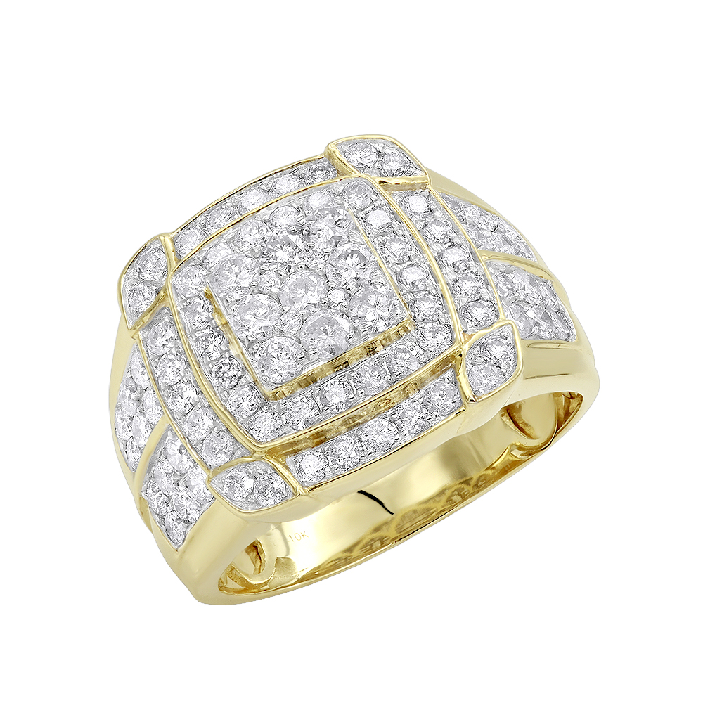 Mens Diamond Pinky Rings 10K Gold 2.5 Carat Luxurman Diamond Ring For Men Yellow Image