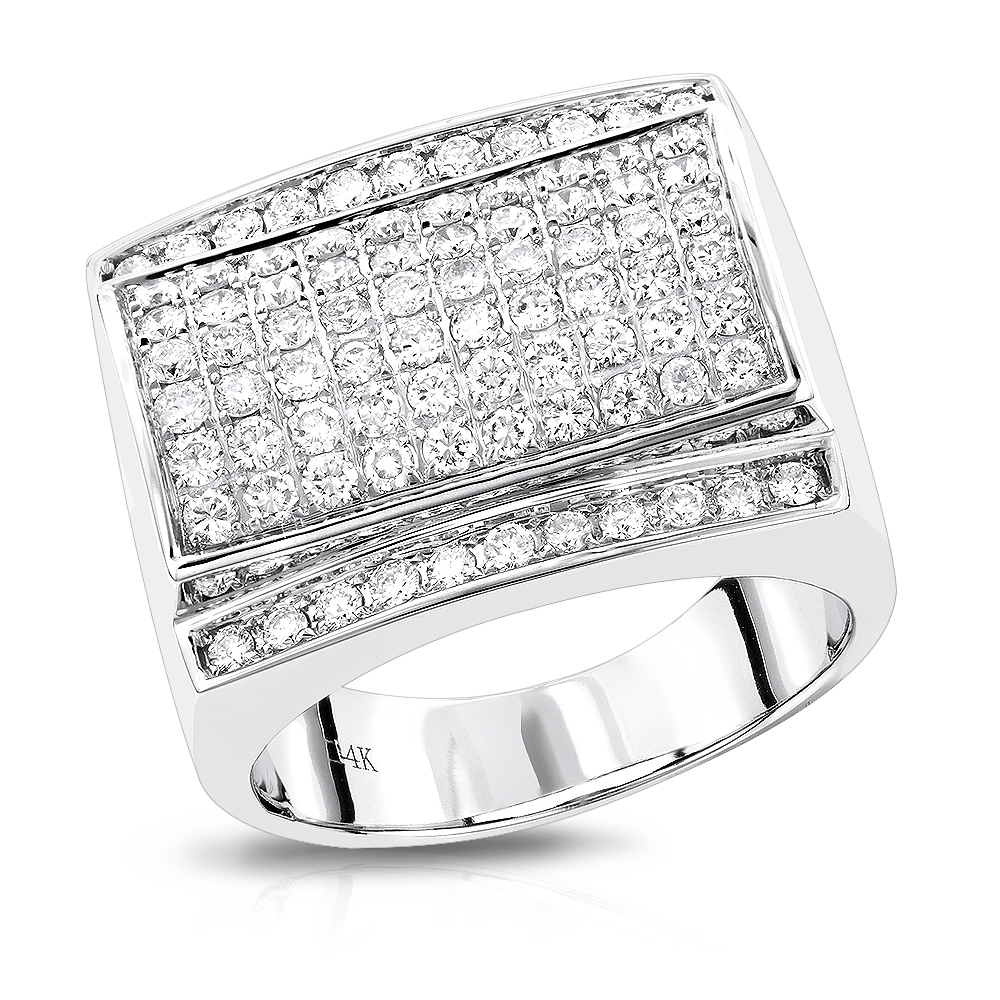 Mens Diamond Ring by Luxurman in 14K Gold 1.8ct White Image