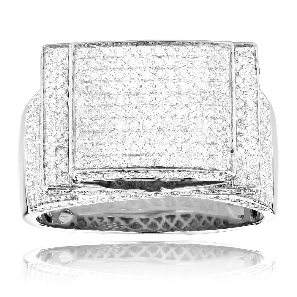 Mens Diamond Ring Sterling Silver 1.70ct