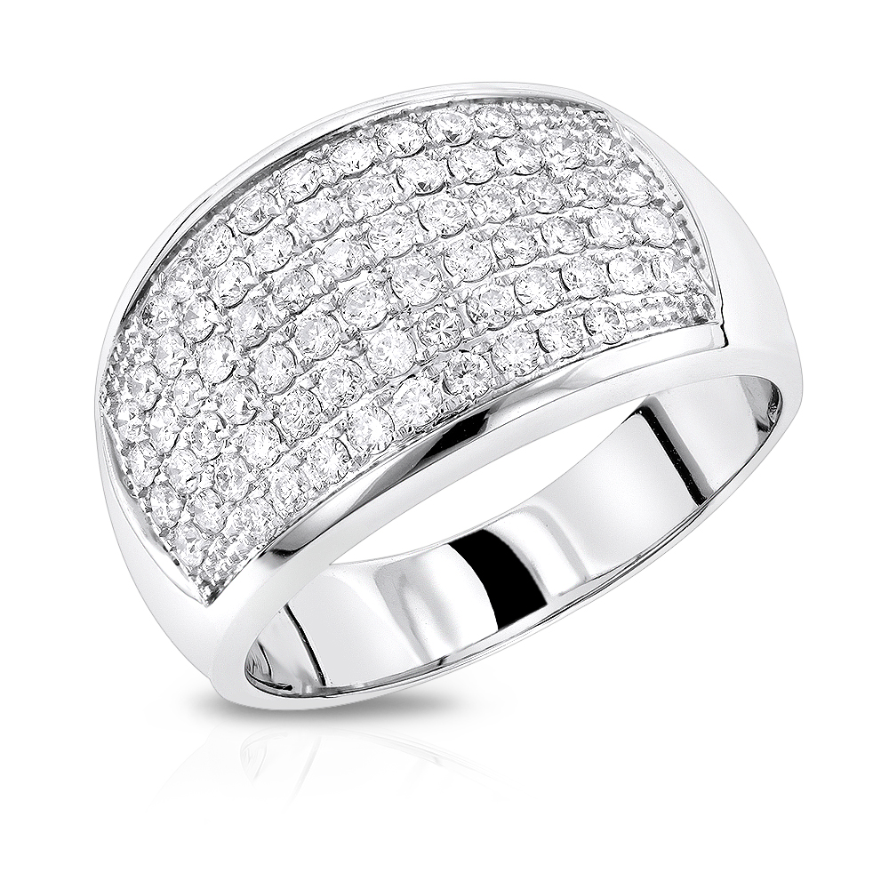 Mens Diamond Rings: 14K Gold Diamond Band by Luxurman 1.5ct White Image