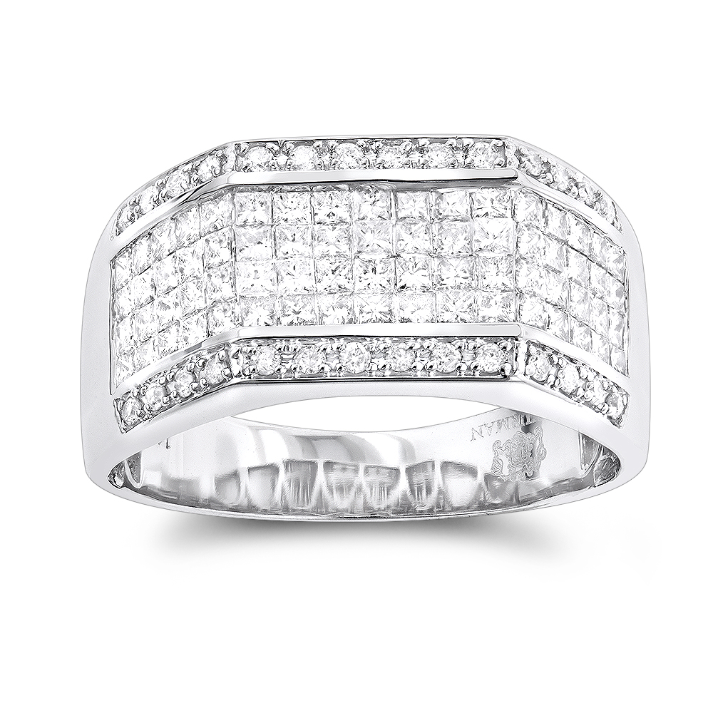 Mens Diamond Rings 14K Round Princess Diamond Ring 2.52